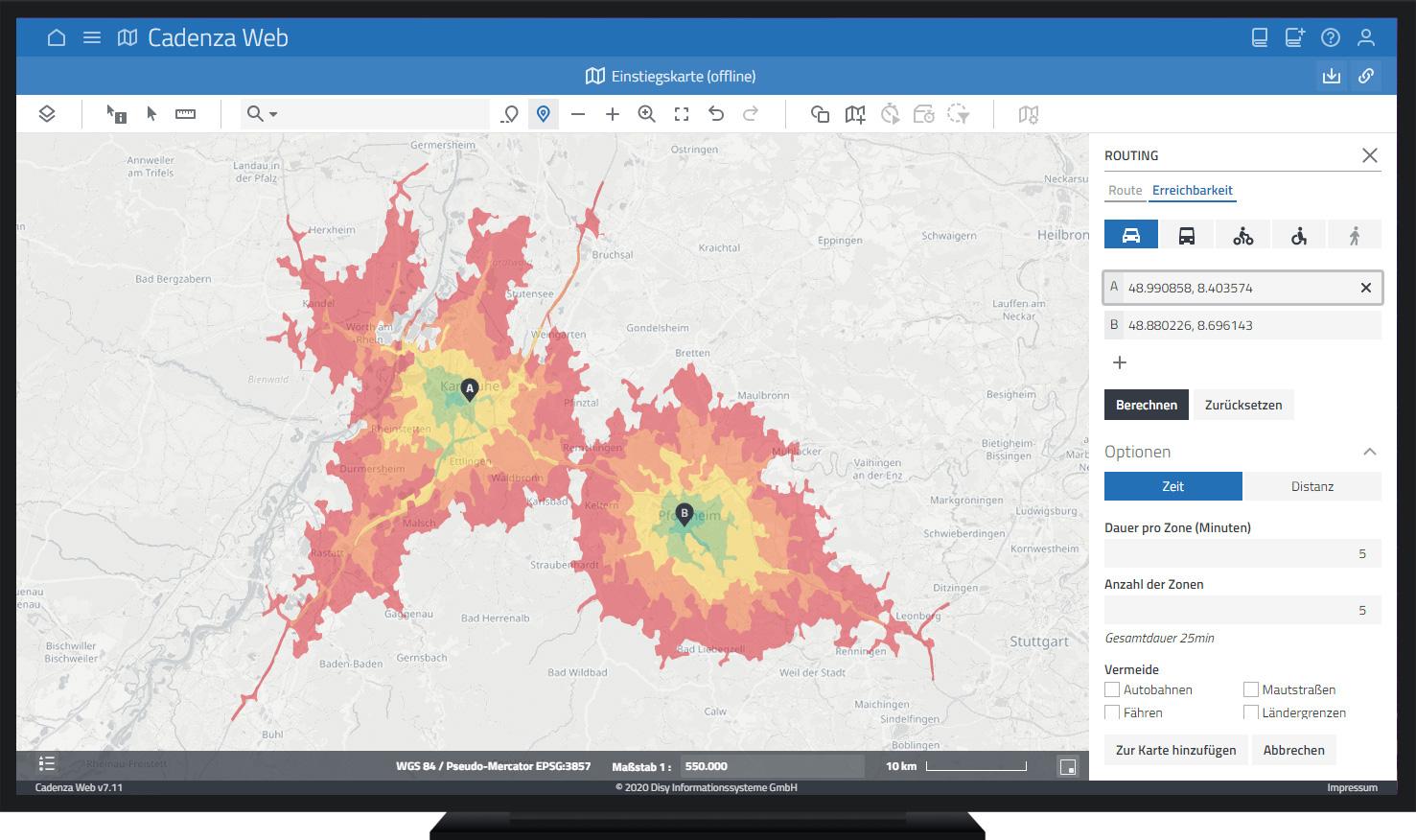 Erreichbarkeit durch Isochrone ermitteln mit der Datenanalyse-Software Cadenza