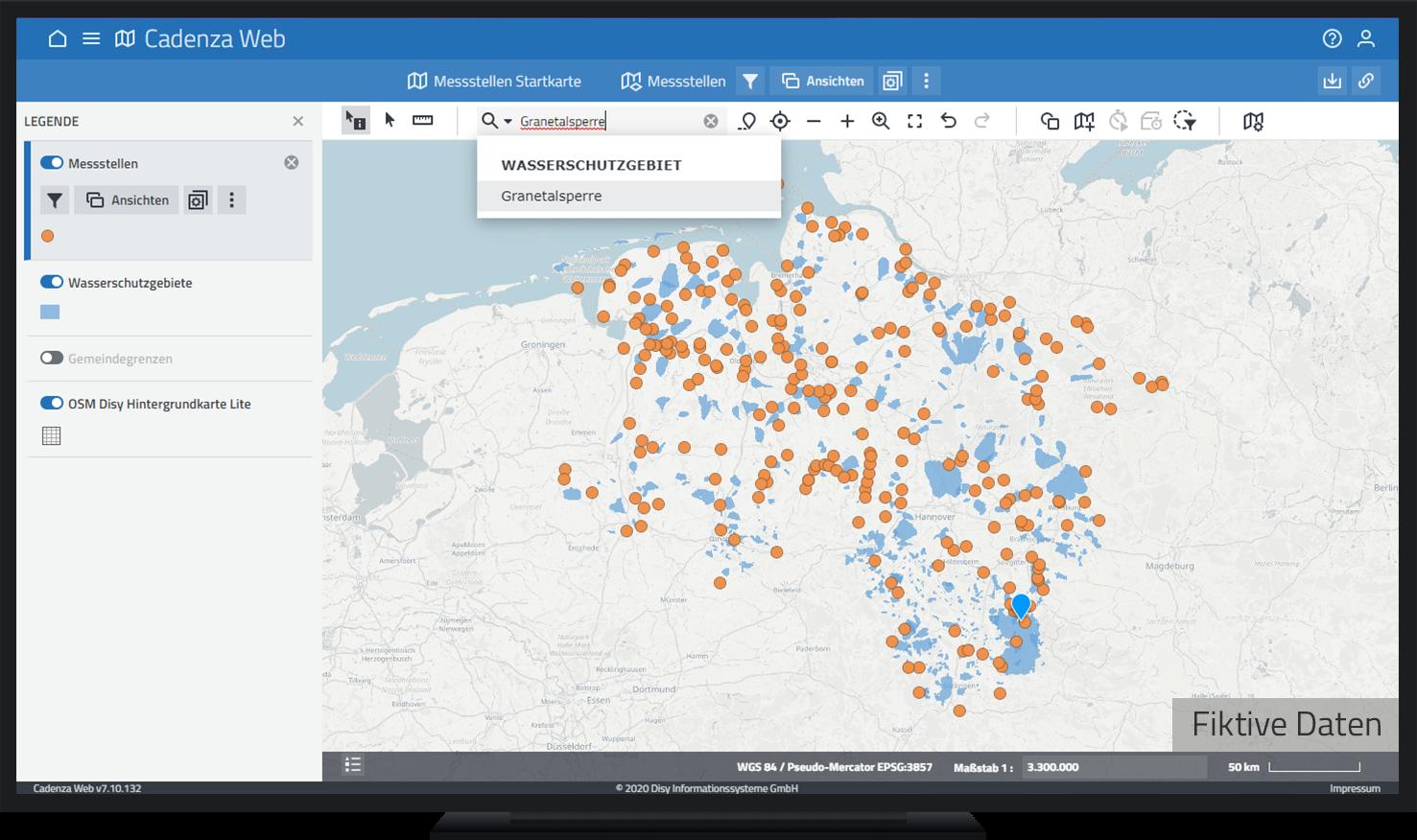 Identifizieren des Wasserschutzgebiets Granetalsperre mit Hilfe des Location Finders in Cadenza Web