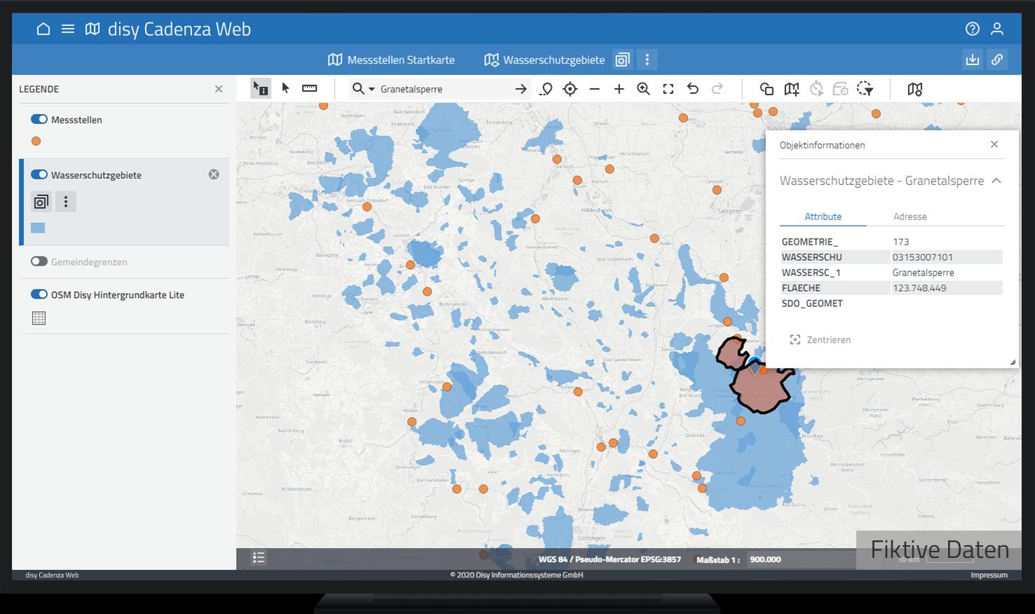 Objektinformationen zum Wasserschutzgebiet Granetalsperre in Cadenza Web