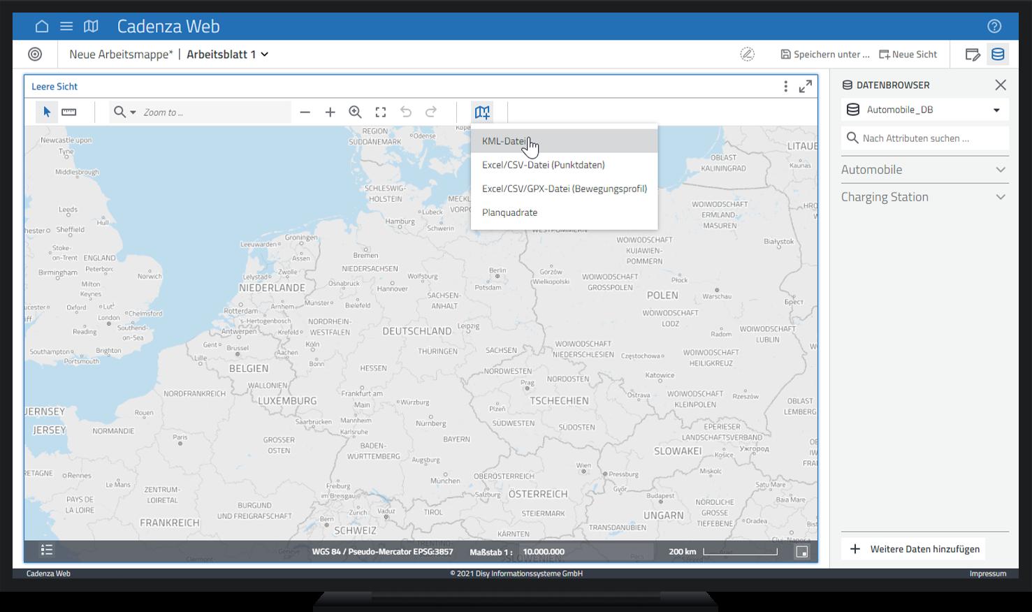 Abb. 1: KML-Daten in eine Karte importieren