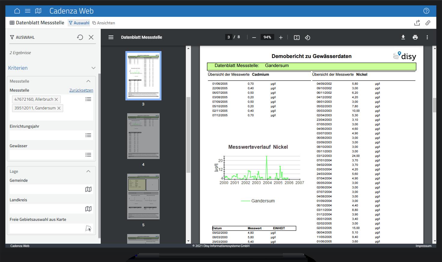 PDF-Bericht und PDF-Bericht mit Filterung in der Datenanalyse-Software Cadenza