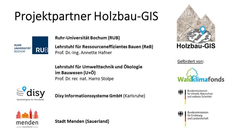 Abb. 1 Projektpartner und Fördermittelgeber im Forschungsprojekt Holzbau-GIS