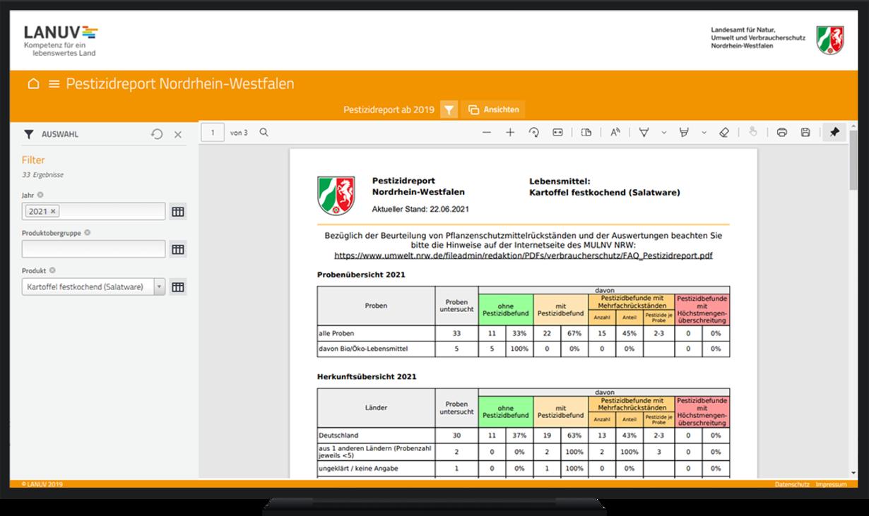 Cadenza und Pestizidreport NRW: Die Grafik zeigt die Filtermöglichkeiten und die Ausgabe eines Berichts in Cadenza.