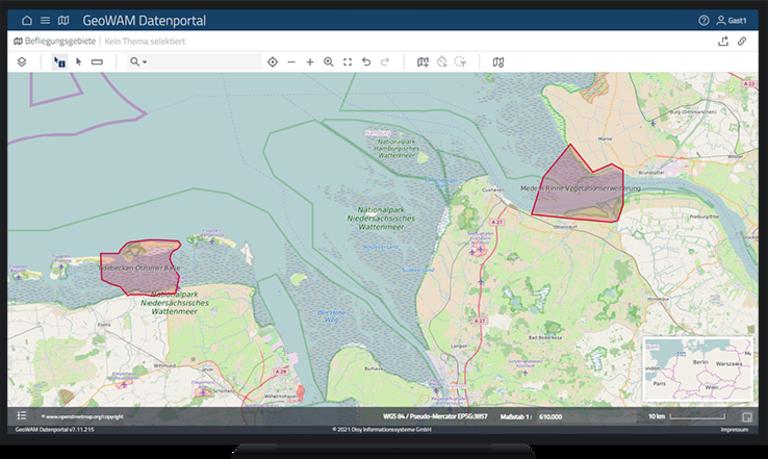 Abb. 2: Pilotregionen des Forschungsprojekts GeoWAM für die Radarbefliegung: Otzumer Balje und Medemrinne