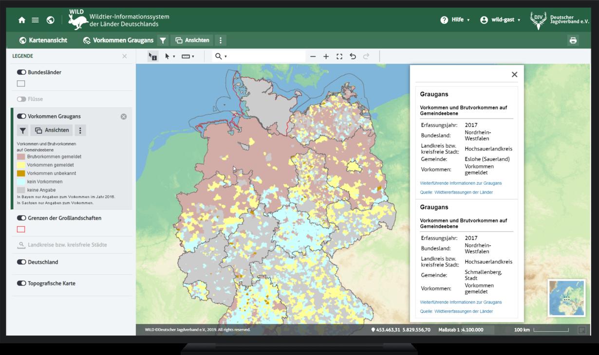 Abb. 1: Kartographische Darstellung des Graugansvorkommens und Brutvorkommens auf Gemeindeebene mit Objektinformation