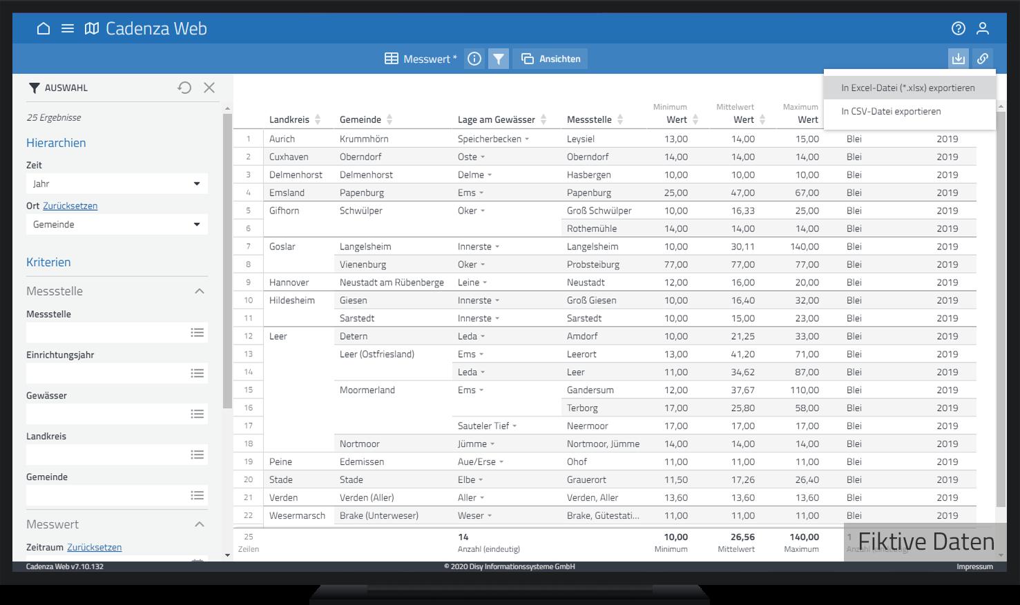 Export der gefilterten und beliebig angeordneten Tabelle als Excel-Tabelle