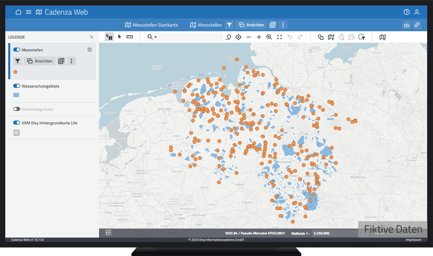 Karte mit Messstellen, Gewässer und Wasserschutzgebiete in Niedersachsen